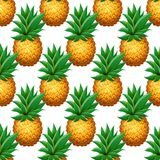 Seamless PINEAPPLE pattern. Realistic cartoon pineapples on white background. Tropical fruits pattern for textile, wallpapers, web, food seasonal card. Vector Royalty Free Stock Photo