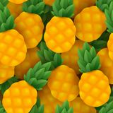 Seamless pineapple vector pattern. With bright fruits and shadows vector illustration