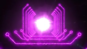Seamless pink abstract animation of zooming digital light path tunnel background stock footage