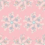Seamless pink abstract flowers pattern on a pink background royalty free illustration