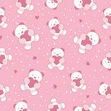 Seamless Pink Baby Background with teddy bear and. Hearts. Vector illustration Royalty Free Stock Photos