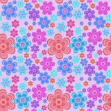 Seamless pink background with bright flowers Royalty Free Stock Photo