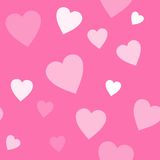 Seamless pink background with hearts Stock Images