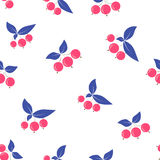 Seamless pink berry pattern blue leaves on white Stock Photos