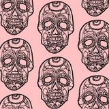 Seamless pink and black background with skulls Stock Photo