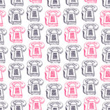 Seamless pink and black vintage phones Stock Photos