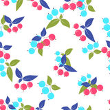 Seamless pink blue berry pattern blue green leaves on white. Background Stock Photography