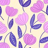 Seamless pink and blue decorative outline floral pattern stock illustration