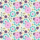 Seamless pink blue flowers on white background Stock Photos