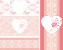 Seamless pink borders with stylized roses Royalty Free Stock Image