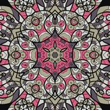 Seamless pink and brown mandala ornament. template Royalty Free Stock Images