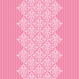 Seamless pink damask frame/border Stock Photography