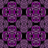 Seamless pink damask Pattern on black for design. Seamless pink damask Pattern on black for design is presented stock illustration
