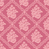 Seamless pink damask Wallpaper with bouquet of Flowers for design Royalty Free Stock Photos