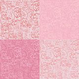 Seamless pink doodle patten Two  racoons Stock Photography