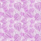 Seamless Pink fallen foliage. Pink fallen heart shaped foliage on white background. Seamless tile Stock Photos