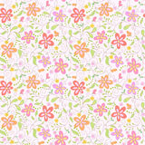 Seamless  pink floral   background. With butterfly Stock Photos
