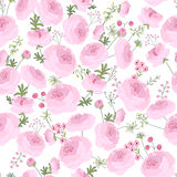 Seamless pink floral pattern with  ranunculus Stock Photography
