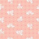 Seamless pink floral pattern, roses and circles, vintage illustration. Royalty Free Stock Image