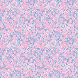 Seamless pink floral pattern texture on blue background Stock Photos