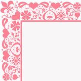 Seamless pink floral pattern on white Stock Photos