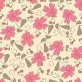 Seamless pink flower pattern royalty free illustration