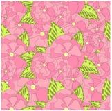 Seamless pink flower of sakura, green leafs stock vector illustration design element Stock Photography