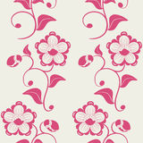 Seamless pink flowers ornate background. Stock Photo