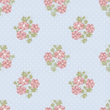 Seamless pink flowers pattern on blue polka dot Stock Photography