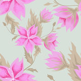 Seamless pink flowers pattern. On green background Stock Photos