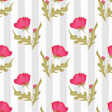 Seamless pink flowers pattern on polka dot striped Stock Photography