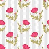 Seamless pink flowers pattern on polka dot striped vector illustration