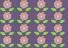 Seamless pink flowers pattern on purple Royalty Free Stock Photo
