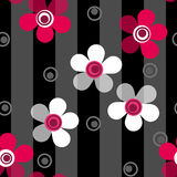 Seamless pink flowers pattern on striped background Stock Photos