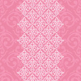 Seamless pink frame in damask baroque style Royalty Free Stock Photo