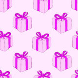 Seamless pink gift boxes Stock Images