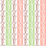 Seamless pink and green floral pattern. Vector illustration. Vector seamless pink and green vintage floral pattern Royalty Free Stock Photo