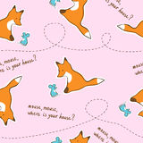 Seamless pink kids pattern with fox and mouse. Stock Photography