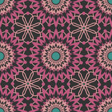 Seamless pink lace pattern print on black Stock Photo
