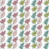 Seamless pink leaves pattern. Handdrawn in minimalistic style on white font Stock Image