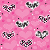 Seamless pink leopard zebra pattern vector illustration Stock Photos
