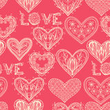 Seamless pink monochrome Valentine pattern Stock Photography