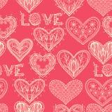 Seamless pink monochrome Valentine pattern Stock Photography
