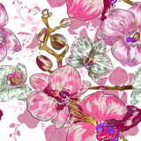 Seamless pink orchid Pattern Royalty Free Stock Photo
