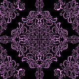 Seamless pink ornamental Pattern on a black Background. Stock Images