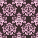 Seamless pink ornate Wallpaper - Ornament with roses. Royalty Free Stock Photography