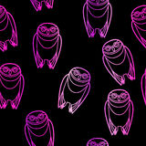 Seamless Pink Owls over Black Royalty Free Stock Images