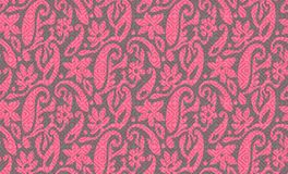 Seamless pink paisley with texture grey background royalty free illustration