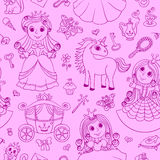 Seamless pink pattern with cute little princess Royalty Free Stock Photography