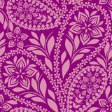 Seamless pink   pattern with paisley. Vector print. Stock Image